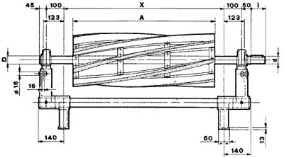 Technical drawing of brushing Unit UST 3 without motor