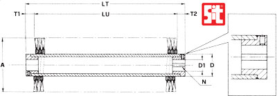 Technical drawing with dimensions of tube core